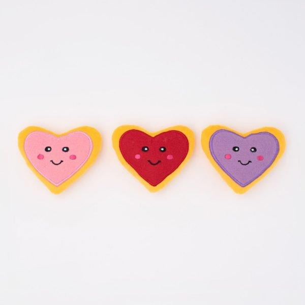 ZippyPaws Valentine's Miniz 3-Pack Heart Cookies
