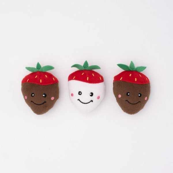 ZippyPaws Valentine's 3-Pack Chocolate Covered Strawberries