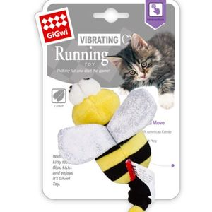 Vibrating Running' Yellow Bee  with catnip inside, stretchable tail for moving